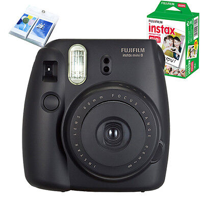 Fujifilm Instax Mini 8 Camera Black + 20 Instant Plain White Film + Wall Album