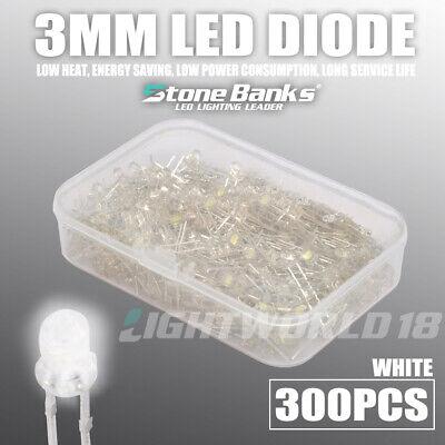 300pcs 3mm White 2 Pin Led Light Emitting Diode F3 Electronic Model Assorted Kit