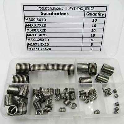 60 Pcs Helicoil Stainless Steel Thread Repair Insert Kit M3 M4 M5 M6 M8 M10 M12