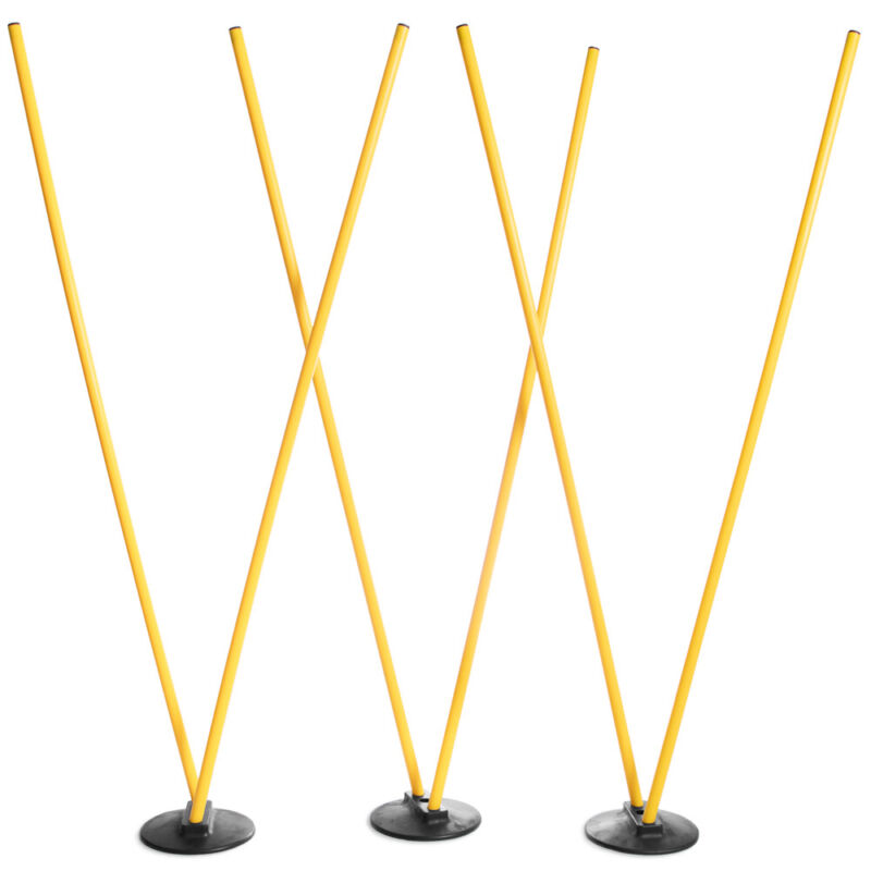 6 Agility Poles with 3 Bases, Yellow Poles, Soccer & Football Training Equipment