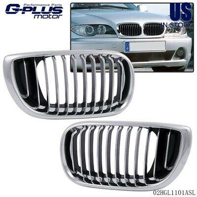 Chrome Front Hood Kidney Sport Grilles Grill For 02 - 05 BMW 3 Series E46 4 Door ()