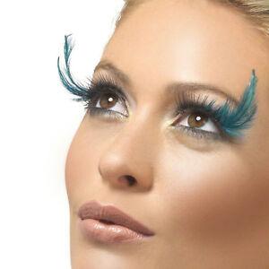 Ladies fever fancy dress fake false eyelashes black green feather