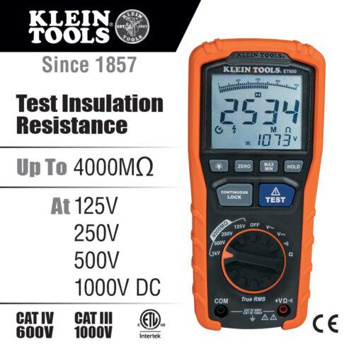NEW Klein Tools ET600 Insulation Resistance Tester - Megohmmeter WITH CASE