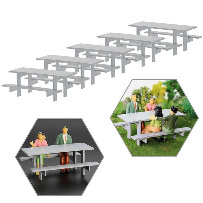 5pcs 1:25 Model Table Chair Gray G Scale Outdoor Camping Table Bench Seats Model