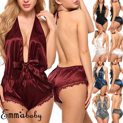USA Sexy Lingerie Lace Silk Satin Babydoll Womens Nightwear Sleepwear Bodysuit