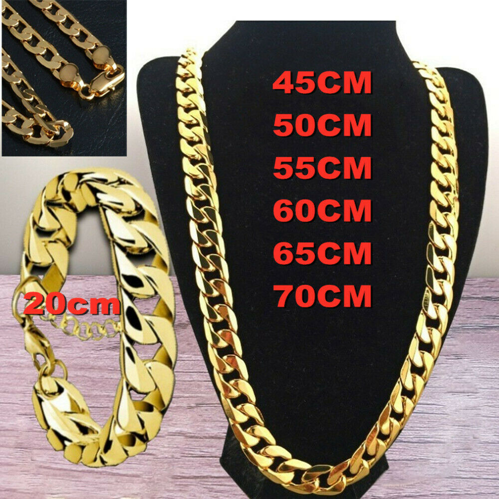Jewellery - Women Men Curb Necklace Chunky Chain Pendant Gold Silver Jewellery Wedding Gift