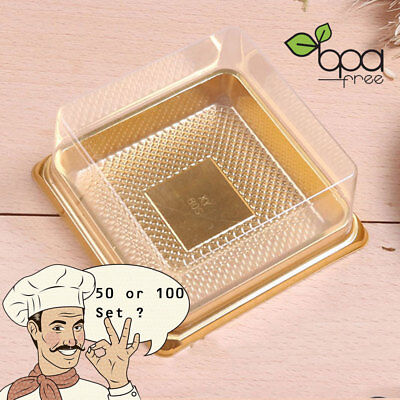 50/100 Square BPA-Free Clear Plastic Gold Base Cake To Go Container DD - Plastic Cake Containers