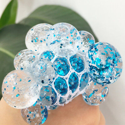 Squishy Mesh Crystal Grape Ball Squeeze Rubber Anti-Stress Relief Toys Kids Gift - Mesh Squishy Ball