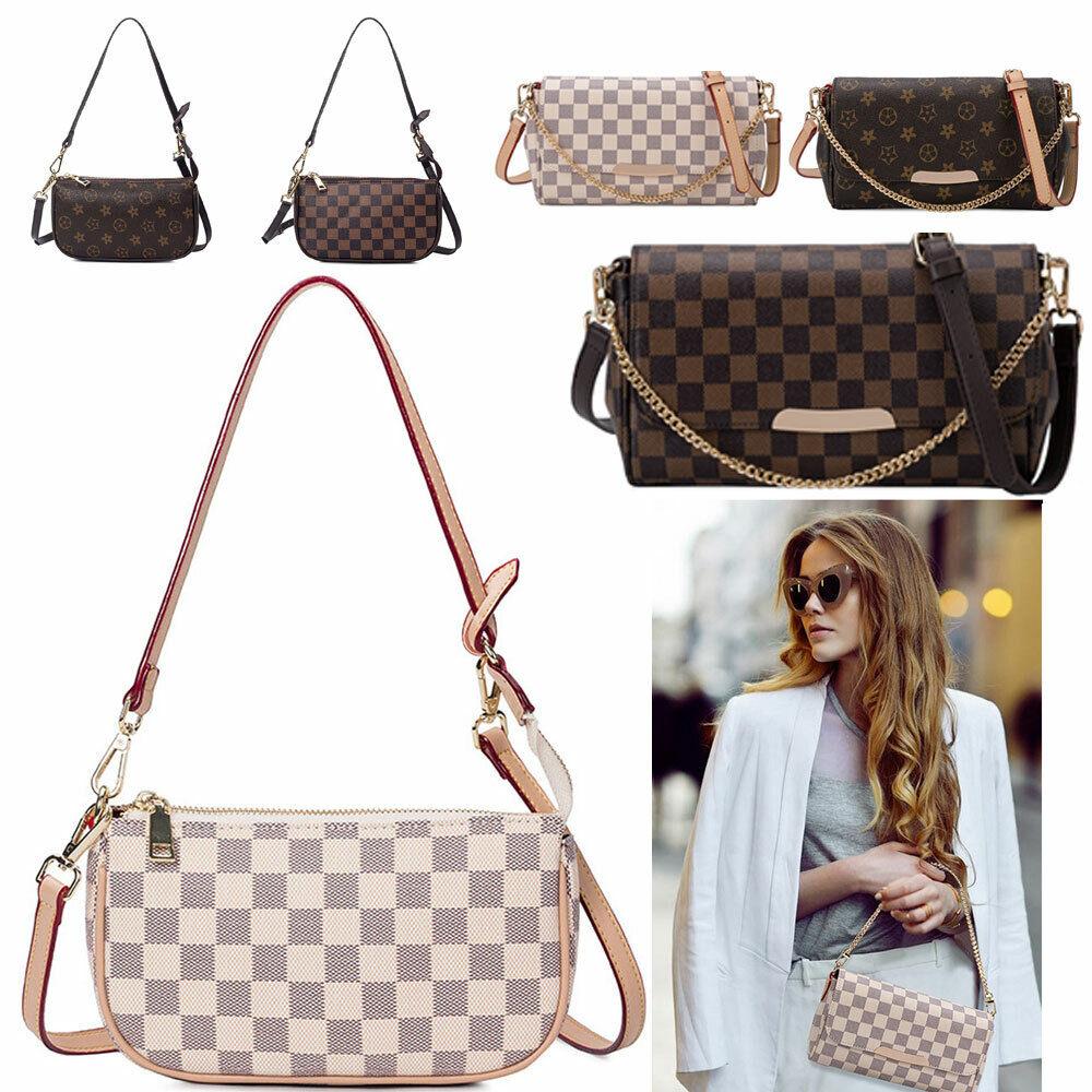 Women Checkered Leather Crossbody Purse Monogram Handbag Clu
