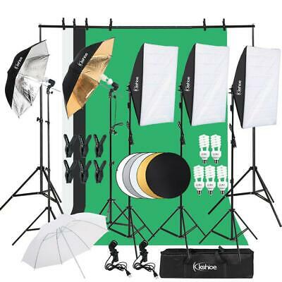 Photo Studio 3 Softbox Photography Light Stand Continuous Lighting Kit +5Bulbs Cameras & Photo