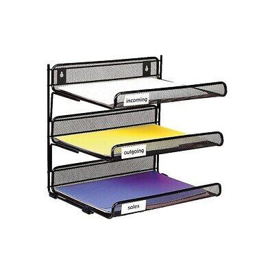 Staples Black Wire Mesh 3-tier Desk Shelf 827873