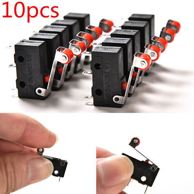 10pcsset Micro Roller Lever Arm Open Close Limit Switch Kw12-3 Pcb Microswitch