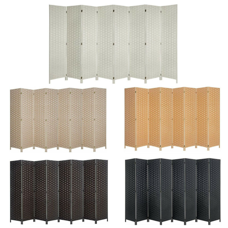 8 Panels Room Divider Double Side Multicolor Fiber Privacy Screen Space Seperate
