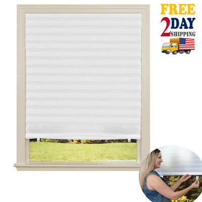 Paper Window Blinds Black Out Pleated 36 x 72 Inch Sun Shade Pull -