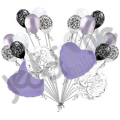 20 pc Lavender Heart & Swirl Balloon Bouquet Wedding Bridal Shower Anniversary