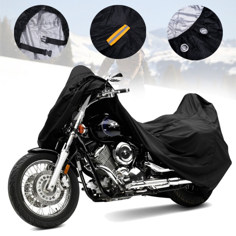 Universal Cover for Motorcycle XL Size Strap Waterproof Black//Gray 265*105*125CM