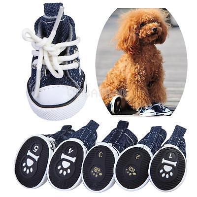 Pet Dog Puppy Sporty Cloth Shoes Boots Blue New Denim Canvas Sneaker Shoes 4pcs