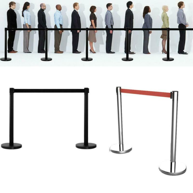 2/4/6 PCS Stanchion Set Line Barrier Post Rope Crowd Control Queue Black/Silver