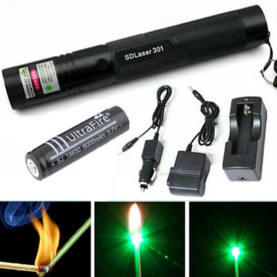 Green 532nm 5mw Laser Pointer 301 Light Burning Zoom Pen 18650 Batterycharger