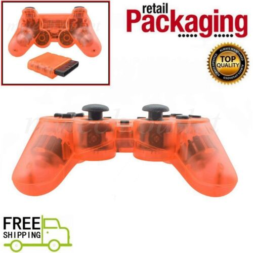 New Clear Orange Wireless 2.4G Twin Shock Controller For PS2 Joystick Joypad