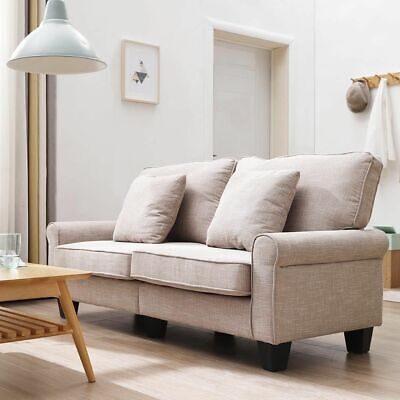Modern Linen fabric Sofas Couches 2 Seater Sofa Light Brown With Cushions