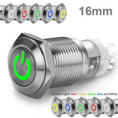 1pc 16mm 12v Car Led Power Push Button Metal Onoff Switch Latching Waterproof