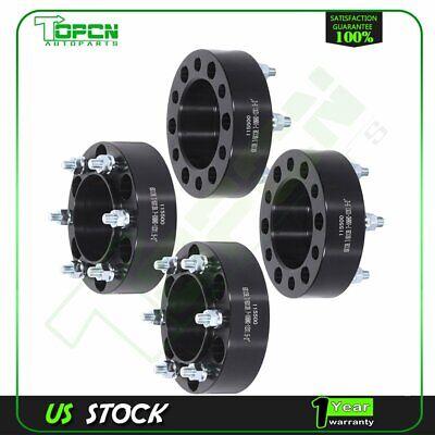 "4Pcs Black Wheel Spacers 6x5.5 to 6x5.5 12x1.5 studs 2"" For Toyota Chevrolet GMC"