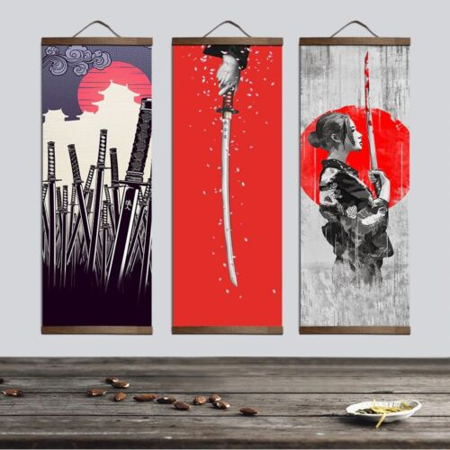 Traditional Japanese Ukiyoe Canvas Home Wall Art Hanging Painting Scroll Poster