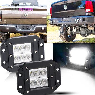 Pair Flush Mount Backup Reverse Front Rear Bumper Led Lights Cube Pods Fog Lamp