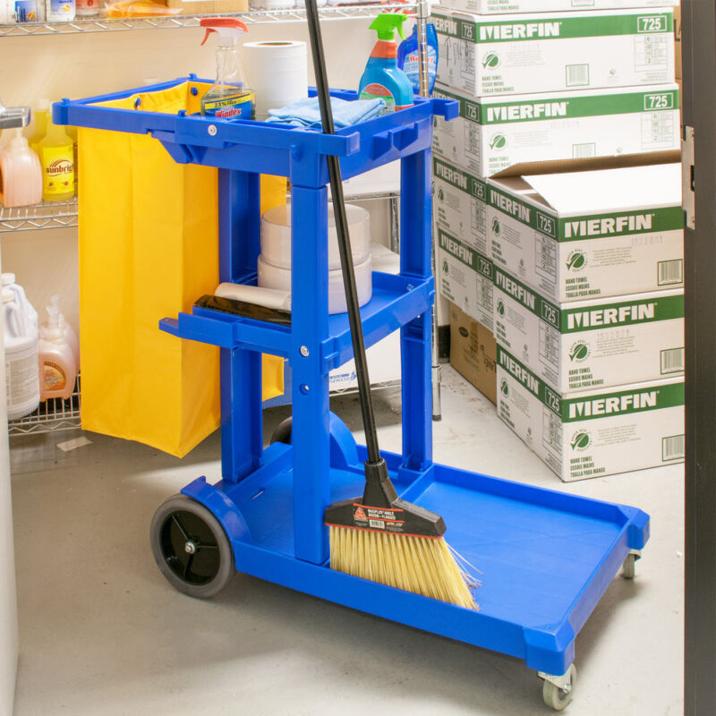 Janitorial Cleaning Cart / Janitor Cart with 3 Shelves and Vinyl Bag