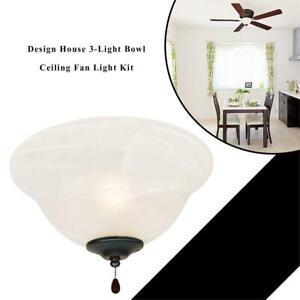 NEW Design House 154211 3-Light Bowl Ceiling Fan Light Kit Condtion: New
