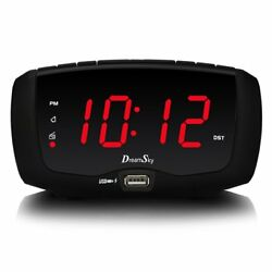 DreamSky Digital Alarm Clock Radio with FM Radio, Dual USB Ports for Charging,