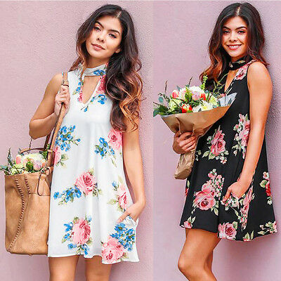 Women Summer O-Neck Sleeveless Printed Dress Chiffon Floral Mini Daily Dress New