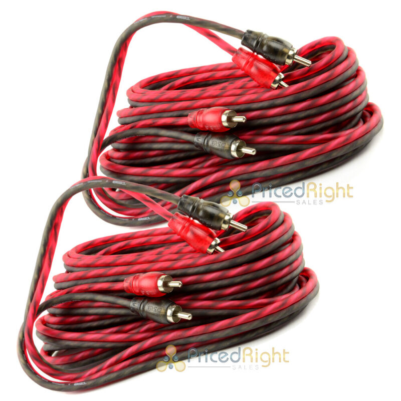 2 Pack DS18 20 ft 2 Channel Shielded Twisted Interconnect RCA Cable Amp Cables