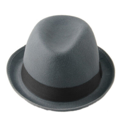 Gray Felt Women Men Fold Brim Billycock Sag Top Bowler Derby Jazz Fedora Hat