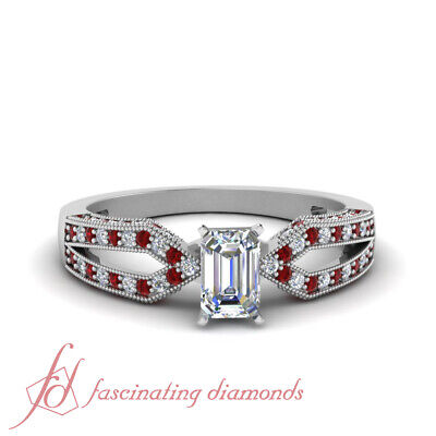 .70 Ct Emerald Cut VVS2 Diamond & Red Ruby Milgrain Pave Set Engagement Ring GIA