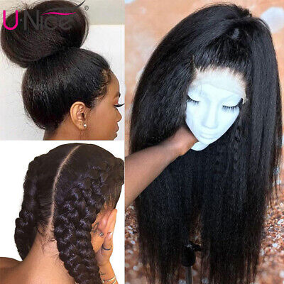 360 Lace Front 100% Human Hair Wigs Peruvian Kinky Straight Virgin Hair Wig