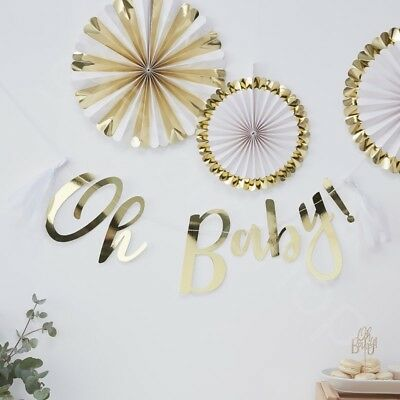 Ob Garland (Gold Oh Baby Bunting Banner Baby Shower Party Decoration Garland Backdrop - 1.5m)