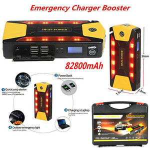 82800mAh 4 USB Power Bank Portable Car Jump Starter Pack Booster Battery Charger