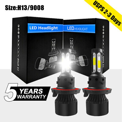 4 Side 9008 H13 LED Hi Low Beam Headlight 2800W 375000LM bulbs Kit White 6000K