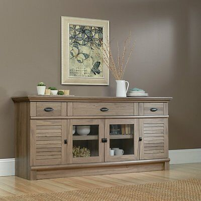 - Buffet Sideboard Credenza Weathered Gray Oak Finish TV Stand Storage Cabinet 71
