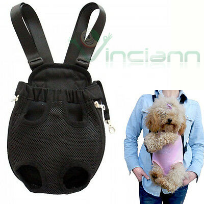 Borsa marsupio trasportino tessuto per cane piccola taglia M nero passeggiata