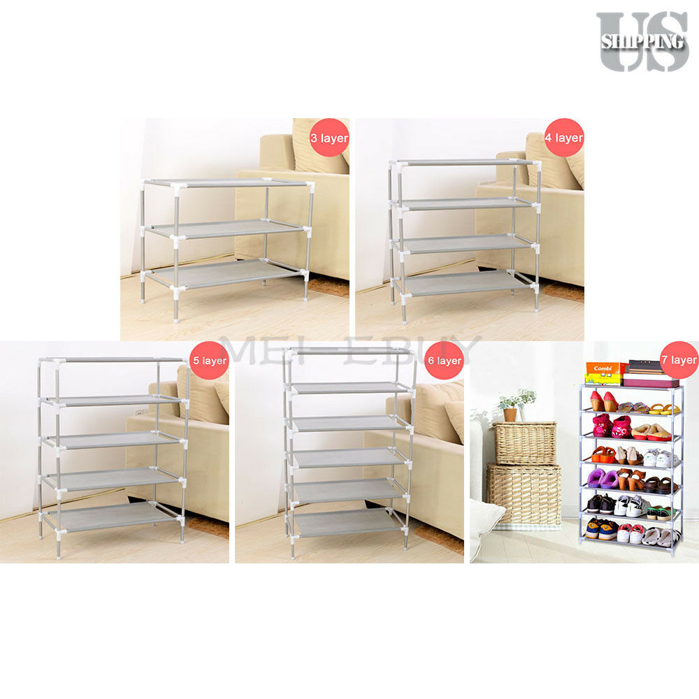 Metal Shoes Rack Stand Storage Organizer Fabric Shelf