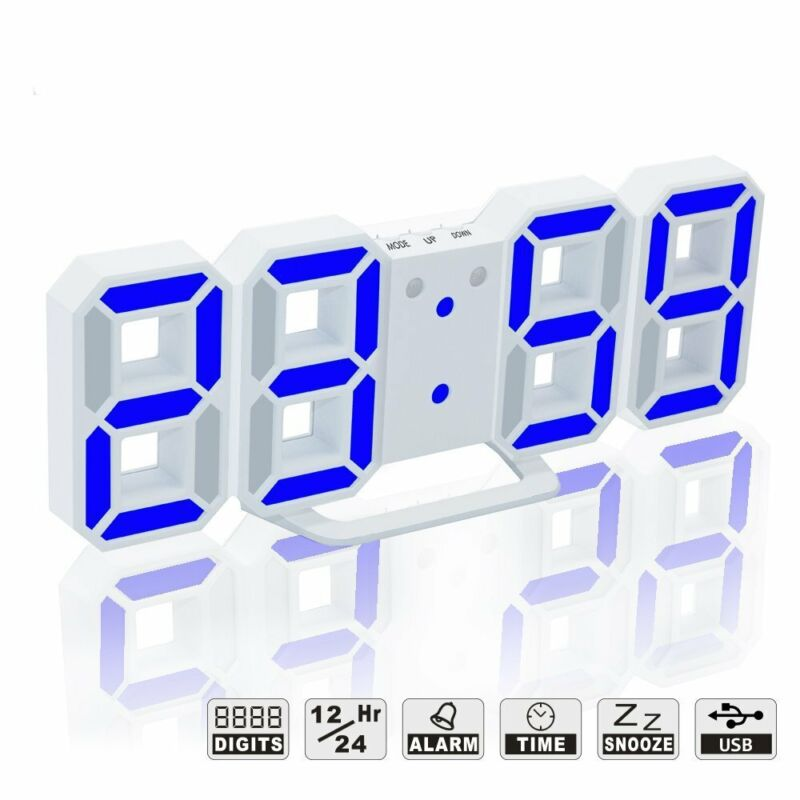 Led Digital Alarm Clock For Desk / Shelf / Tabletop, Modern