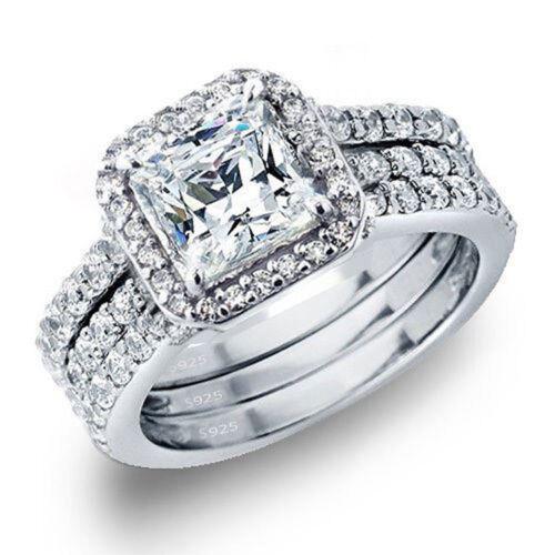 Women's 3.28 Ctw Princess Cut 925 Sterling Silver Cz Wedding Engagement Ring Set
