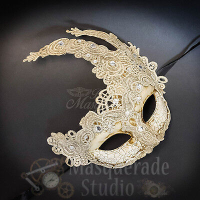 Venetian  Brocade Lace Mardi Gras Masquerade Ball Mask with Rhinestones [Ivory]