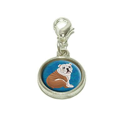 (English Bulldog Dangling Bracelet Pendant Charm)
