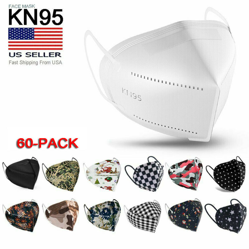 60 Pack Kn95 Protective 5 Layer Face Mask Disposable Respirator [bfe 95% Pm2.5]