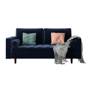 Sollia 3 Seater Velvet Sofa - Navy Blue