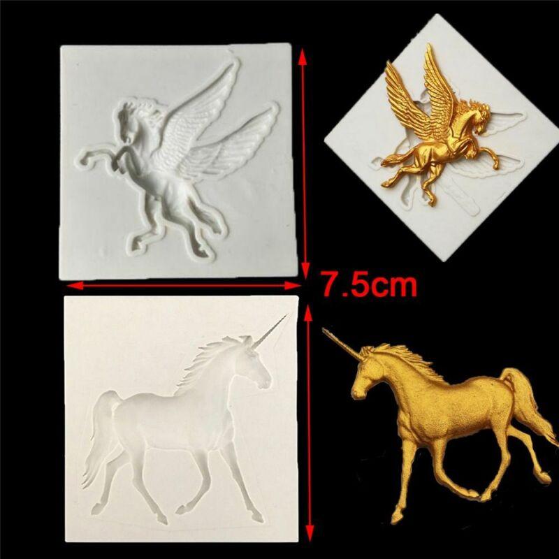 3D Silicone Pegasus Horse Fondant Sugarcraft Cake Chocolate Icing Decor Mold NEW